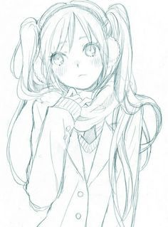 ✮ ANIME ART ✮ girl. . .coat. . .scarf. . .earmuffs. . .cold. . .blushing. . .long hair. . .twin tails. . .moe. . .drawing. . .doodle. . .pencil. . .graphite. . .cute. . .kawaii