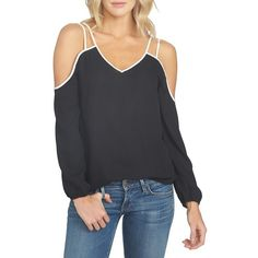 Women's 1.state Cold Shoulder Crepe Blouse ($79) ❤ liked on Polyvore featuring tops, blouses, rich black, cut out shoulder blouse, cold shoulder tops, cold shoulder blouse, crepe blouse and cut shoulder tops