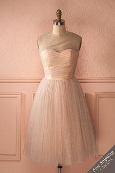 Robe trapèze tulle pêche brillants décolleté en coeur - Pink sparkly tutu sweetheart neckline a-line dress