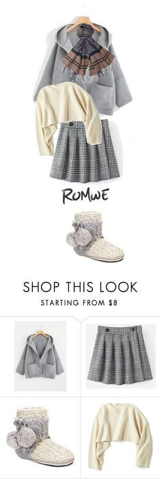"""""""romwe"""" by bellamonica ❤ liked on Polyvore featuring Muk Luks, Uniqlo and Barbour"""