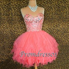2015 sweetheart pink short prom dress, ball gown, homecoming dress for teens