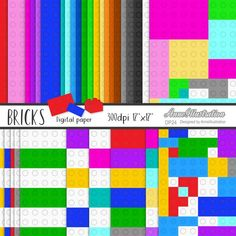 Bricks digital papersBuilding   Etsy Iphone Icon Packs, Black And White Doodle, Rose Clipart, Simple Collage, Watercolor Rose, Vintage Roses, Collage Sheet, Paper Background, Toys For Boys