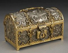 """French Art Nouveau silvered and gilt bronze casket the domed top with a bail handle, the whole decorated with a scrolled floral repousse motif. Impressed mark to base. 4.375""""H x 7.5""""W x 4""""D, Circa - 1900. #antique #vintage #box"""