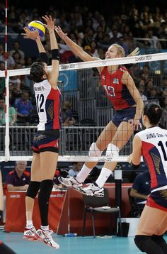 http://www.MilitaryGradeNutritionals.com/blog   USA's Christa Harmotto (13) spikes the ball over South Korea's Han Song-yi (12) during a women's volleyball semifinal match at the 2012 Summer Olympics Thursday, Aug. 9, 2012, in London.