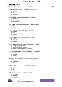 This page consists of Calgary city of Canada-super teacher printable worksheet pdf. Teachers will find this worksheet very help because it contains several questions and answers about the name and characteristics of the above city. Printable Worksheets, Printables, Geography Worksheets, Capital Of Canada, Calgary, Social Studies, Homeschooling, Teacher, Pdf