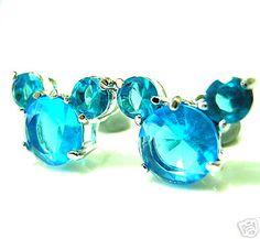18KGP blue sapphire cz mickey mouse stud earrings