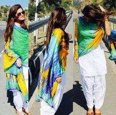 Trending White Patiala Suit With Colorful Dupatta. Patiala Dress, Punjabi Salwar Suits, Punjabi Dress, Patiala Suit, Salwar Kameez, Punjabi Fashion, Indian Fashion, Pakistani Outfits, Indian Outfits