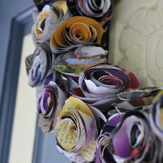 Rolled Rose Wreath made from magazine pages.
