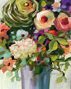 """Daily Paintworks - """"With Great Affection"""" - Original Fine Art for Sale - © Libby Anderson Acrylic Flowers, Abstract Flowers, Abstract Art, Arte Floral, Fine Art Gallery, Watercolor Paintings, Art Paintings, Floral Paintings, Watercolors"""