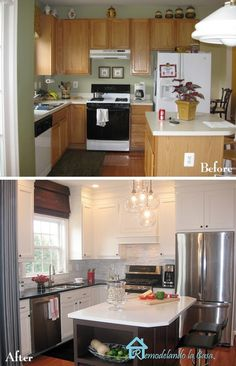 What a fantastic kitchen makeover.  Same cabinets with creative fixes.  Need to study this one more…