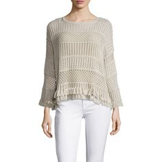 Autumn Cashmere Women's Boxy Pointelle Tassel Trim Sweater - Cream/Tan ($89) ❤ liked on Polyvore featuring tops, sweaters, cream sweater, cream top, crew sweater, boxy tops and cotton knit sweaters