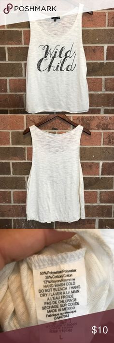 """Wild child large top Length 25 """" Chest 21 """" Shoulder to armpit opening is 15"""" so has a muscle tee style to it .  * no trades * No modeling  * Accepting best offer * Keep in mind if you bundle you save more 💕 Tops Muscle Tees"""