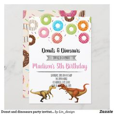 Donut and dinosaurs party invitation Dinosaur Party Invitations, Custom Invitations, Colored Envelopes, White Envelopes, Envelope Liners, 5th Birthday, Dinosaurs, Donuts, Special Occasion