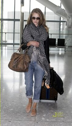 Boyfriend jeans and ballet flats . . .for those of us who LIVE in airports! Love those jeans!!