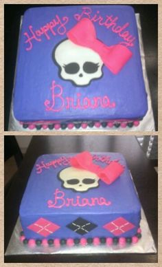 Monster High cake, frosting with fondant accents hand made