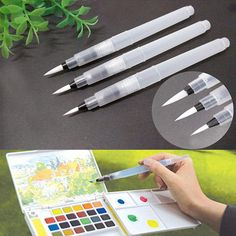 Cheap brushed platinum, Buy Quality pen twister directly from China brush pen Suppliers: 3 Pcs Kids Refillable Pilot Water Brush Ink Pen for Water Color Calligraphy Drawing Painting Illustration Pen Office Stationery Watercolor Beginner, Watercolor Kit, Watercolor Brushes, Beginner Painting, Watercolor Paintings, Beginner Art, Painting & Drawing, Artist Painting, Hair Painting