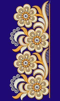 Border Embroidery Designs, Machine Embroidery Designs, Embroidery Patterns, Hand Embroidery Flowers, Lace Embroidery, Zentangle, Floral Drawing, Motif Floral, Floral Lace