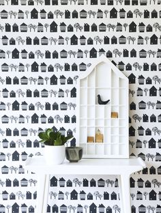 behang met huisjes - wallpaper with houses