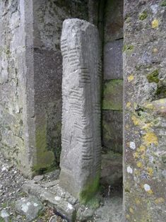 One of the two ogham stones inside Ardmore Cathedral, Co. The stone has two inscriptions – one of which has been translated to read – 'the stone of Lugaid, grandson of Nia-Segmon'. Dublin, Site Archéologique, Celtic Culture, In Ancient Times, Ancient Ruins, Ireland Homes, Celtic Art, Ancient Artifacts, British Isles