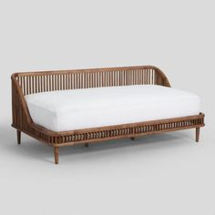 Nadya Daybed – warm brown mango wood – shown with too large a mattress… – Wood Desings - Modern Apartment Furniture, Living Room Furniture, Home Furniture, Furniture Design, Deco Furniture, Furniture Layout, Furniture Outlet, Studio Apartment, Discount Furniture