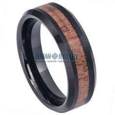 Black IP Plated Tungsten Ring with Hawaiian Koa Wood Inlay Black Rings, Wedding Ring Bands, Black Tungsten Rings, Tungsten Wedding Rings, Anniversary Bands, Plating, Rings For Men, Engagement Rings