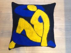 Cushion using felt inlay technique based on a Matisse cut out design