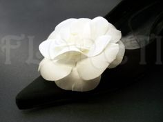 Couture White Satin Camellia Bridal Shoe Clips Wedding Shoe Embellishment | Floreti - Wedding on ArtFire. $55.44