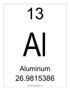 Aluminium, with the atomic symbol Al, has the atomic number 13. Free to download and print