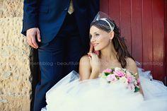 cute bride sitting w/ no faced fiance