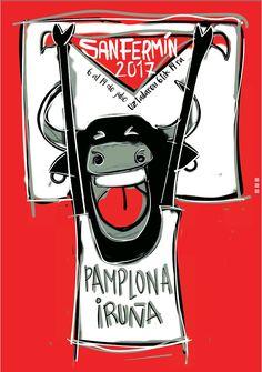 """""""Pañuelos en alto"""" Mi propuesta para cartel de San Fermín 17."""
