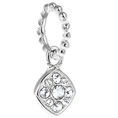 7af876482 Chamilia Petite Pave Cushion Charm with Swarovski Crystal in Sterling Silver