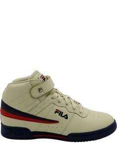 Fila Kids Grade School F-13 F13 Casual Mid Retro Basketball Shoes White Navy Red