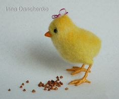Yellow needle felted chicken - ready to ship on Etsy, $23.80