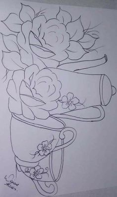 Cross Stitch Embroidery, Embroidery Patterns, Hand Embroidery, Painting Patterns, Fabric Painting, Art Sketches, Art Drawings, Painted Milk Cans, Brazilian Embroidery