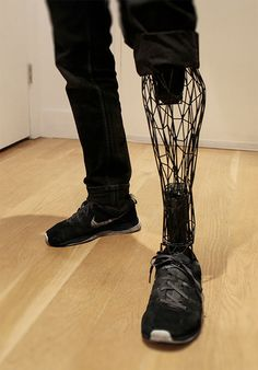 This is a picture of a man wearing a futuristic looking prosthetic leg! What you may not know is this was printed by a printer! Currently, the medical industry is working on making prosthetics that are manufactured by printers!