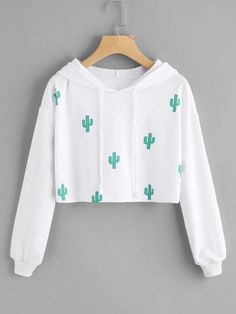 2d0d33ad9be To find out about the Cactus Print Hooded Crop Sweatshirt at ROMWE