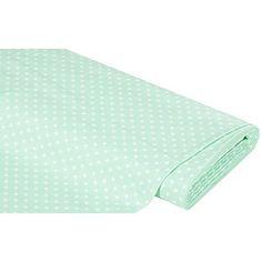 """Tissu coton """"pois"""" vert menthe/blanc, tissu magnifique de la série """"Mona"""" à motif pois (Ø 5mm), délicat, doux et de belle qualité, pour donner vie à toutes vos idées de couture et de cadeaux.Composition : 100 % cotonPoids : 130 g/m²Largeur : 150 cm"""
