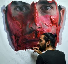 Spanish artist Eloy Morales paints incredible hyper realistic self portraits that are convincing you could almost swear that these pictures were a series of abstract selfies. They might look like photographs of an artist who has covered himself in paint, but each one of them is a meticulously painted image of himself which not only shows off his technical ability but his deep connection with the way in which he depicts his subjects, whether thats himself or others.