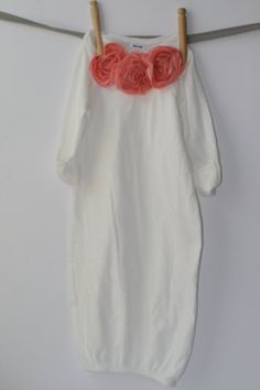 OOOOOH! :)  Baby Gown for Baby GIrl with flowers by BabyPint on Etsy, $20.00