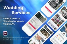 Wedding Services iOS App UI Kit Wedding Services, Adobe Xd, App Ui Design, Wedding Card Templates, Ui Kit, Ios App, User Interface, Make It Yourself