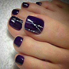 Purple Toe Nail Designs Gallery 48 adorable easy toe nail designs you will love Purple Toe Nail Designs. Here is Purple Toe Nail Designs Gallery for you. Purple Toe Nail Designs purple and silver nail designs purple silver nails. Simple Toe Nails, Pretty Toe Nails, Summer Toe Nails, Cute Toe Nails, Classy Nails, My Nails, Pretty Toes, Fall Toe Nails, Winter Nails