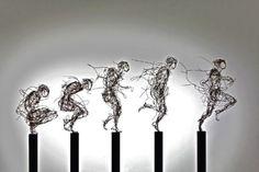 """""""Aufbruch' (Departure), stainless steel wire, knotted, 150 X 130 X 40 cm Stefanie w Welk"""