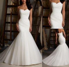 2014 White Ivory Mermaid Long Wedding Dresses Plus Size Sweetheart Bridal Gowns