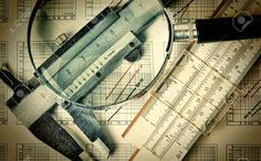 Old Engineering Tools On A Technical Drawing Stock Photo, Picture ...