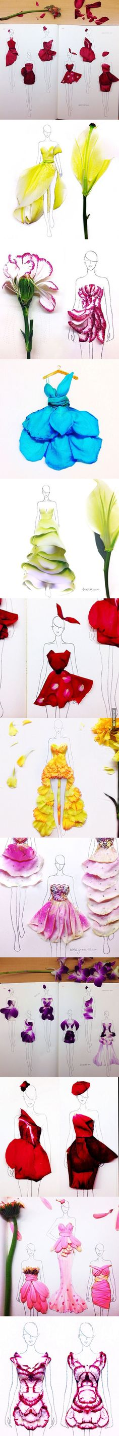 Fashion Illustrations With Real Flower Petals As Clothing.
