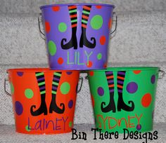 5 quart Halloween bucket witch by BinThereDesigns on Etsy Baby Boy Halloween, Halloween Buckets, Halloween Bags, Halloween Trick Or Treat, Holidays Halloween, Halloween Crafts, Halloween Ideas, Happy Halloween, Halloween Decorations