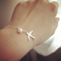 Silver Swallow Bracelet Swallow Charm & Pearls by cocowagner, $24.90