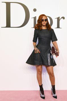 Rihanna wore a denim dress at a Dior event