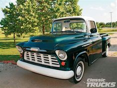 1955 Chevy Pickup, had one of these in Vegas; wasn't this nice but it was in good shape. Chevy Pickup Trucks, Chevrolet Trucks, Ford Trucks, Chevy Stepside, Chevy Pickups, Classic Trucks Magazine, Truck Detailing, 1955 Chevy, Vintage Trucks