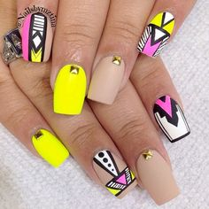 Tribal Nail Designs, Tribal Nails, Neon Nails, Nail Art Designs, 3d Nails, Nails Design, Acrylic Nails, Yellow Nail Art, Blue Nail